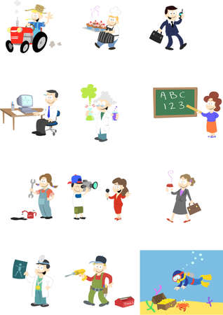 A collection of  characters in various professions.   Note: A second version of this design is available which includes backgrounds. Illustration