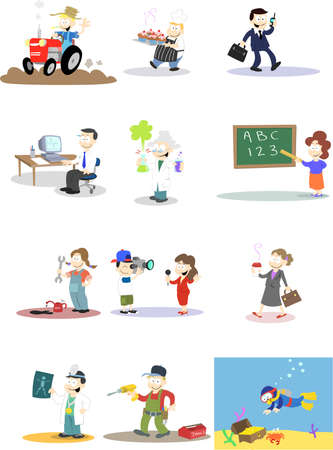 A collection of  characters in various professions.  Note: Backgrounds and colours can easily be edited if purchasing the  version of this design. Vector