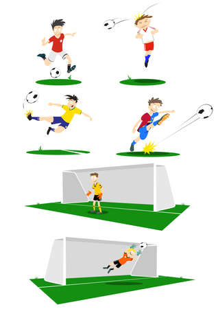heading: A collection of Football players, kicking, heading and goal keeping. If purchasing the vector, elements such as uniform colour can easily be changed.