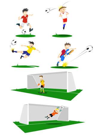 futbol infantil: Una colección de jugadores de fútbol, patadas, partida y mantenimiento de la meta. Si va a comprar el vector, elementos tales como el color uniforme pueden cambiar fácilmente.