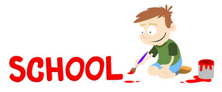 Boy painting the word School in red paint. Text caption for a letter, newsletter etc. Vector graphic. Illustration