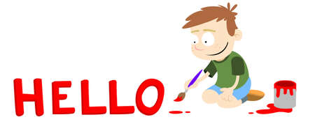 A greeting caption. A boy painting the word Hello in red paint. Vector graphic.