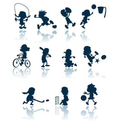 A collection of silhouettes  cutouts of children engaged in various sporting activities.