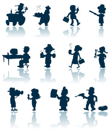 A collection of silhouettes of various professions and workers. Illustration