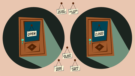 door sign: Doors with labels open and closed and other ones, long shadow vector illustration