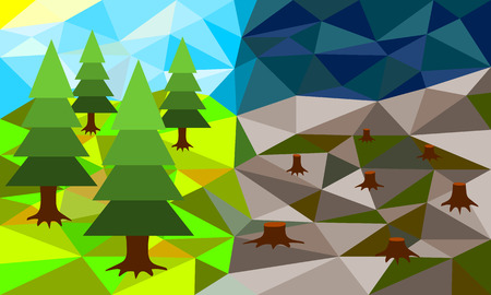 ecological damage: Forest before and after deforestation, low poly vector illustration