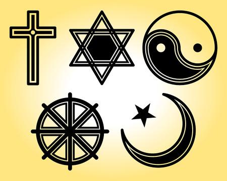 religious cross: Religious symbols line icons set Illustration