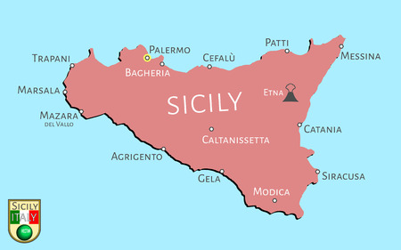 geographic: Map of Italian isle of Sicily