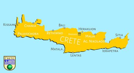 grecian: Map of Greek isle of Crete Illustration