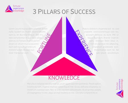 pillars: 3 pillars of success vector infographics