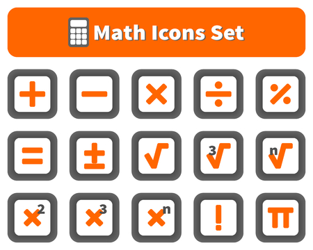 factorial: Math and calculator icons set Illustration