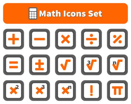 Math and calculator icons set Illustration