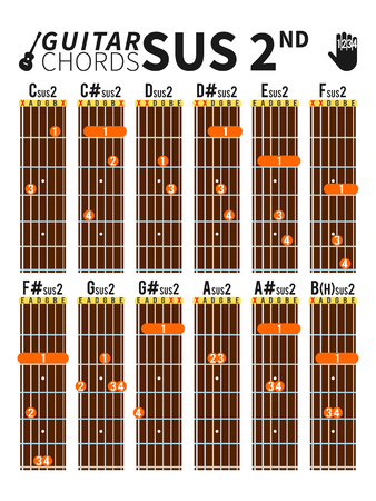 suspended: Colorful suspended second chords chart for guitar with fingers position Illustration
