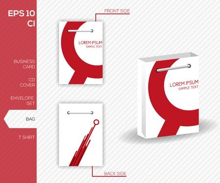 Corporate identity design for business - Abstract red vector bag design template - Vector illustration Stock Illustration - 20359509