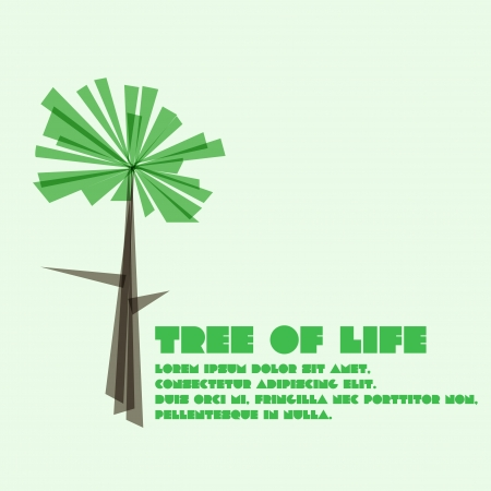 Vector tree from triangles on green overlay background Stock Photo - 20359415