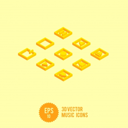 3D Vector Music Icon Set - Play Stop Record - Vector Illustration illustration