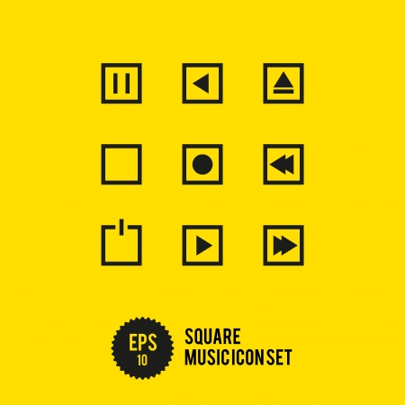Square Music Icon Set - Vector Illustration - Play Stop Record illustration