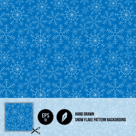Hand Drawn Snowflake Pattern Background - Vector Illustration - Winter illustration