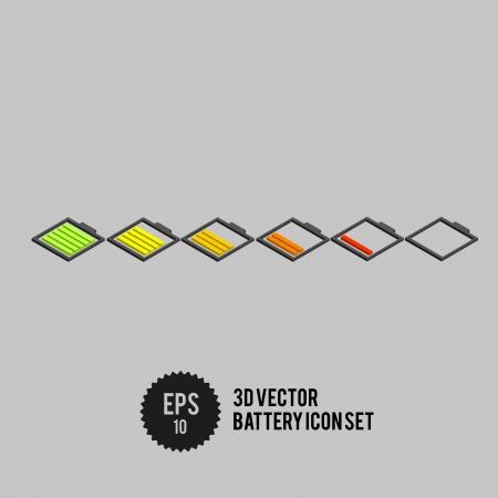 3D Vector Battery Icon Set - Vector Illustration illustration