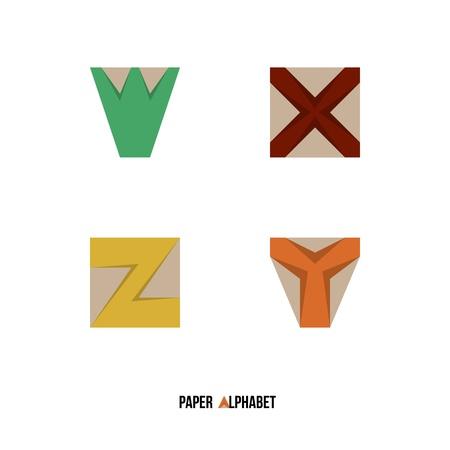 z fold: W X Y Z - Paper Alphabet