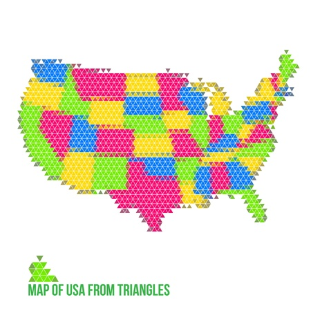 Map of USA from Triangles Vector