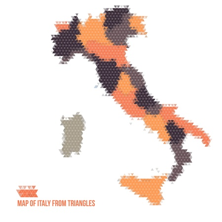 Map Of Italy From Triangles Vector