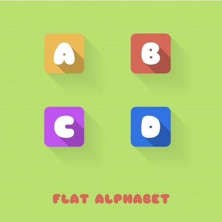 writing a letter: A B C D -Flat Design Button Alphabet - Vector Illustration Illustration