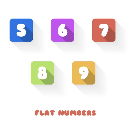 8 9: 5 6 7 8 9 - Flat Design Numbers Buttons - Vector Illustration