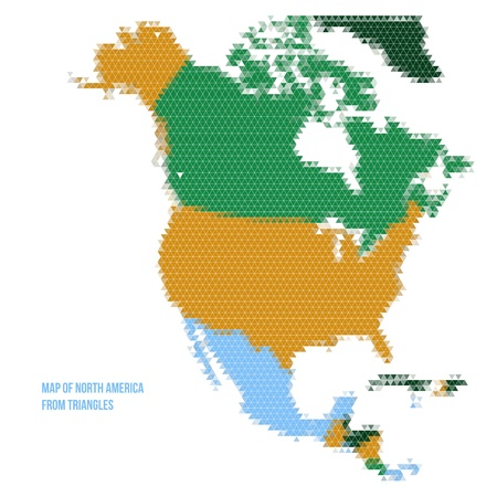 Map of North America from Triangles - Vector Illustration - Infographic Element Vector
