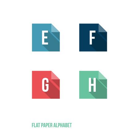 sign h: E F G H - Flat Design Paper Button Alphabet - Vector Illustration