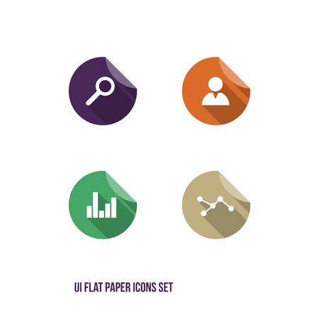 User Interface Flat Paper Icons Set - UI - Vector Illustration - Infographic Elements Vector