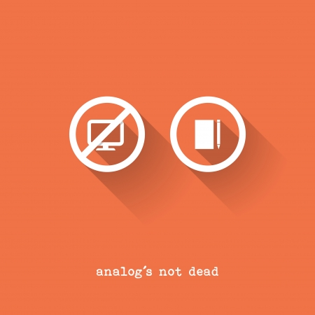 old pc: Analog Is Not Dead - Notepad vs. Pc - Vector Illustration - Flat Design Illustration