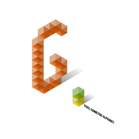G - Pixel Isometric Alphabet - Vector Illustration - Typography Vector
