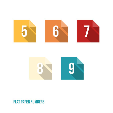 8 9: 5 6 7 8 9 - Flat Design Paper Numbers Buttons - Vector Illustration