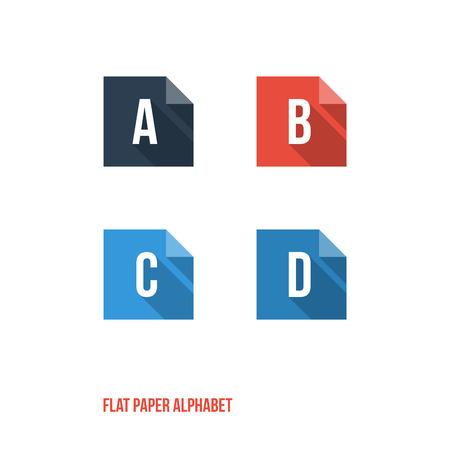letter writing: A B C D -Flat Design Paper Button Alphabet - Vector Illustration Illustration