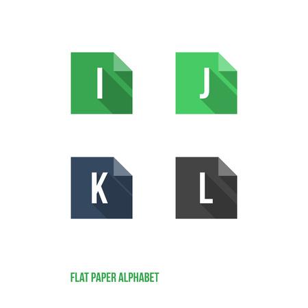 rectángulo: IJKL-Flat Papel Diseño Botón del alfabeto - ilustración vectorial Vectores
