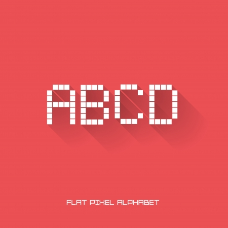 A B C D - Flat Pixel Alphabet - Flat Design - Vector Illustration Vector