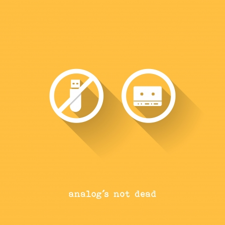Analog Is Not Dead - USB Disk versus Tape - Vector Illustration - Flat Design Vector