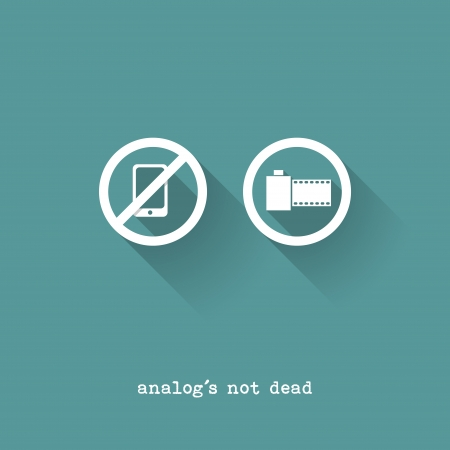 Analog Is Not Dead - Phone Versus Analog Camera - Vector Illustration - Flat Design Vector