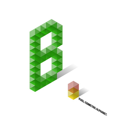 B - Pixel Isometric Alphabet - Vector Illustration - Typography Vector