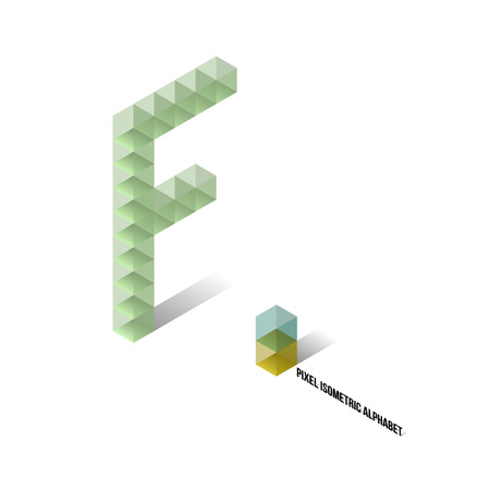 F - Pixel Isometric Alphabet - Vector Illustration - Typography Vector