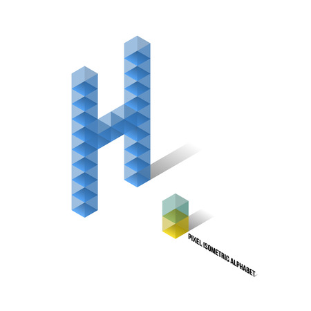 H - Pixel Isometric Alphabet - Vector Illustration - Typography Vector