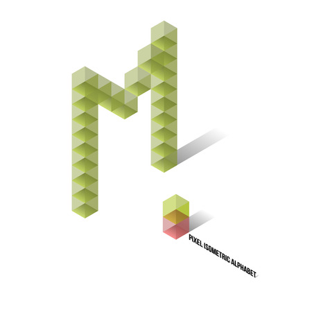 M - Pixel Isometric Alphabet - Vector Illustration - Typography Vector