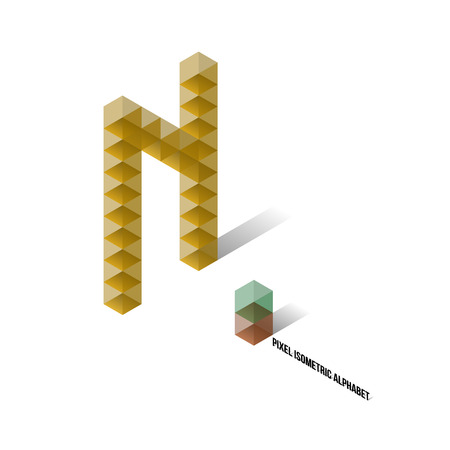 N - Pixel Isometric Alphabet - Vector Illustration - Typography Vector