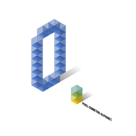 O - Pixel Isometric Alphabet - Vector Illustration - Typography Vector