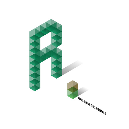 R - Pixel Isometric Alphabet - Vector Illustration - Typography Vector