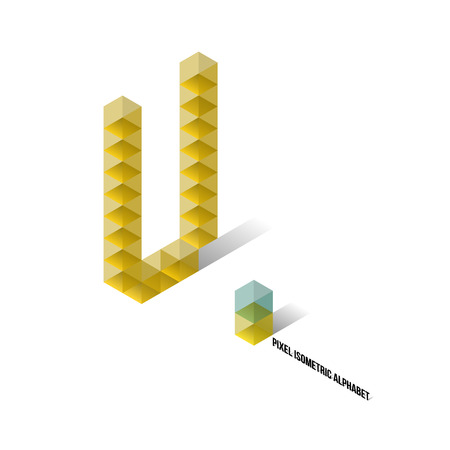 U - Pixel Isometric Alphabet - Vector Illustration - Typography Vector