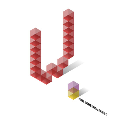 W - Pixel Isometric Alphabet - Vector Illustration - Typography Vector