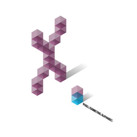 x axis: X - Pixel Isometric Alphabet - Vector Illustration - Typography