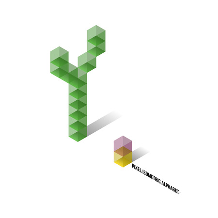 Y - Pixel Isometric Alphabet - Vector Illustration - Typography Vector